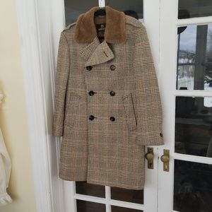 Vintage - Womens Tweed Peacoat - Fur Trim